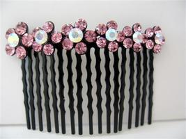Bridal Hair Accessories Rose Pink Flower Crystals Comb Barrette - $10.13