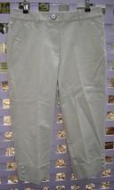 TALBOTS Beige Stretch Cotton Cuffed Capri Pants w/ Stitching Detail (8) NEW - $29.30