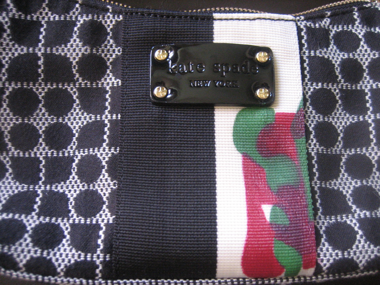 Vintage-Kate Spade-Handpainted Abstract-Small Black&White Signature Fabric Bag