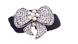 Fancy Hair Rubber Band Bow Encrusted Cubic Zircon w/ Velvet Hair Band - $15.33