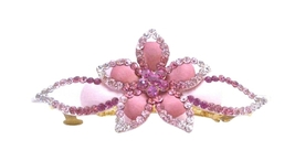 Bridal Head Piece Hand Painted Light & Dark Pink Crystals Hair Clip - $15.98