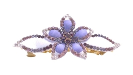 Barrette Hand Painted w/ Amethyst Light & Dark Crystals Hair Jewelry - $15.98