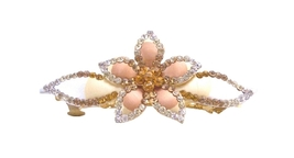 Flower Bridal Hair Barrette Smoked Topaz Golden Shadow Crystals - $15.98