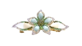 Hair Barrette Hand Painted Flower Olivine Clear Peridot Crystals - $15.98