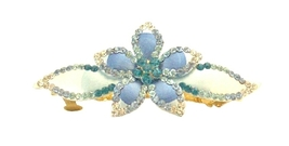 Aquamarine Clear Hand Painted Hair Clip Class Bridal Head Piece - $15.98