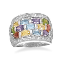 Three Row Multicolor CZ and Two Row Clear CZ Ring - $119.99