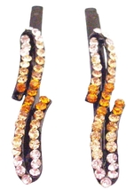 Dazzling Hair Pin Black Metal Jonquil Lite Smoked Topaz Crystals - $9.48
