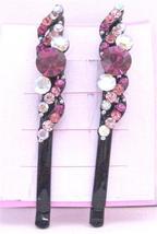 Fuchsia Rose Crystals Fancy Hair Pin w/ Fuchsia Rose Clear Crystals - $9.48