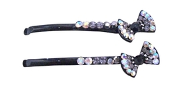 Black Diamond Crystals & clear Crystals Bow Pin Prom Hair Pin - $9.48