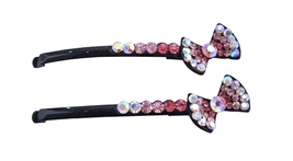 Party Gift Hair Pin Fuchsia Rose Clear Crystals Bow Hair Pin - $9.48