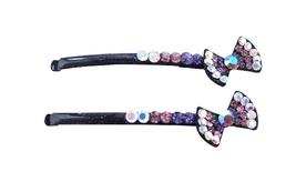 Class Black Hair Pin Amethyst Bow Prom Bridesmaid Hair Accessory PIn - $9.48