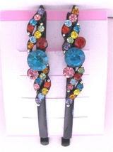 MiltiColored Crystals Black Hair Pin Hair Accessories Black Pin - $9.48