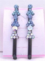 Aquamarine Sapphire Crystals Hair Black Pin Clip Crystals Hair Pin - $9.48