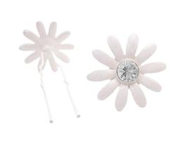 Bridal Wedding Hair Accessories White Flower Clear Crystals Hair Pin - $6.88