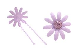 Amethyst Flower Prom Hair Pin w/ Amethyst Crystals Wedding Hair Pin - $6.88