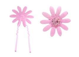 Girls Hair Pin Pink Flower w/ Rose Crystals Wedding Pin - $6.88
