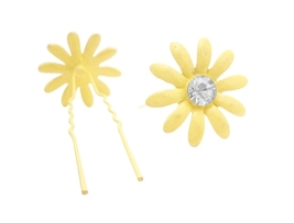 Metal Hair Pin Yellow Flower Hair Pin w/ Matching Crystals - $6.88