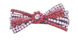 Siam Red Rhinestones & Rosaline Prom Hair Barretted Gogeou Hair Clip - $12.08