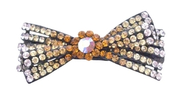 Hair Barrette For Any occasion Hair Bow Clip Topaz Yellow Gold Color - $11.97
