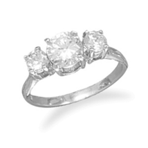 Silver Ring with Three Round Clear CZs - $39.99