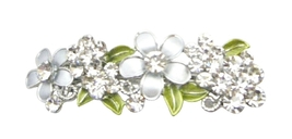 Perfect Bridal Hair Barrette FLowers In Grey Diamond & White Hair Clip - $12.08
