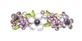 Amethyst Barrette Flowers Painted In Purple Crystals Wedding Hair Clip - $12.08
