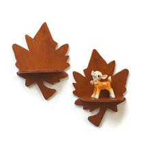 Vintage Maple Leaf Shelf Pair Wood Wall Hanging Display Cottage Cabin De... - $24.95