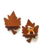 Vintage Maple Leaf Shelf Pair Wood Wall Hanging Display Cottage Cabin De... - $24.95