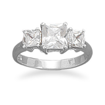 Silver Ring with Three Square CZs - $48.99