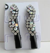 Black Hair Pin Crystals Flower Pair Hair Pin Clip Hair Accessories - $15.98