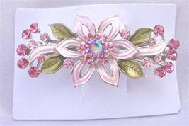 Prom Hair Barrette Pink Flower Enamel Green Leaves Crystals Hair Clip - $11.43