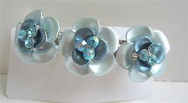 Beautiful Hair Barrette Aquamarine Flower Ename... - $11.45