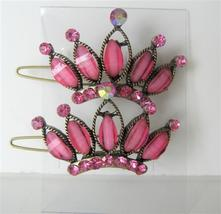 Pink Hair Accessories Crown Sparkling Pink Crystals Hair Pair Clip - $14.03