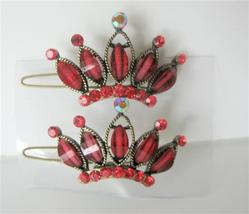 Seduction Red Crown Hair Clip Pair Of Crown Clip Sparkling Crystals - $14.03