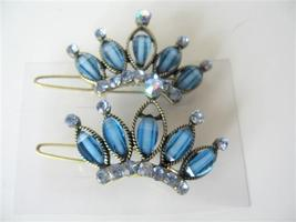 Pair Of Hair Clip Sophisticated Blue Crown w/ Crystals Sparkling Clip - $14.03