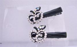 Simulated Diamond Apple Pair Hair Clamps Clip Sleek & Sparkling Clamps - $13.38