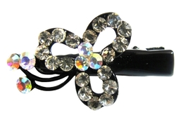 Simulated Diamond Flower Hair Clamps Clip Sleek & Sparkling Clamps - $8.18