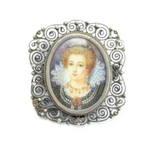 Antique Hand Painted Victorian Portrait of Edwardian Lady, Silver Brooch... - $179.91