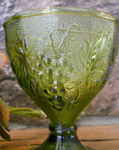 Anchor Hocking Glass Avocado Green Grapes Pattern Sherbet Candy Dish Nut Compote - $19.99