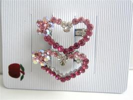 Crystals Hair Heart Barrette Pink Crystals Hear... - $10.78