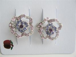 Flower Shades of Blue Amethyst Crystals Hair Barrette Clip - $12.73