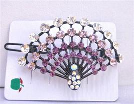 Amethyst Crystals Light & Dark w/ Clear Crystals Hair Clip - $18.58