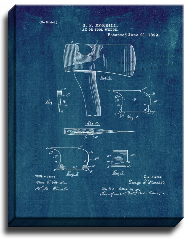 Primary image for Ax Or Tool Wedge Patent Print Midnight Blue on Canvas