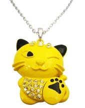 Yellow Enamel Painted Cute Cat Pendant Naughty Embedded w/ Diamante - $12.73