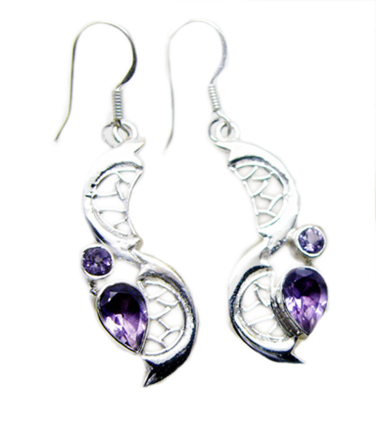 splendiferous Amethyst 925 Sterling Silver Purple Earring Natural wholesales US