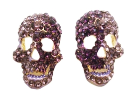 Skull Head Earrings w/ Amethyst & Tanzanite Crystals Skull Jewelry - $13.38
