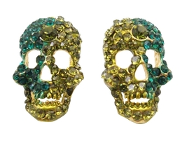 Sparkling Skull Earrings Peridot & Blue Zircon Crystals Skull Jewelry - $13.38