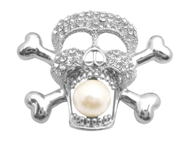 Silver Skull Head w/ Pearls in Skull Mouth Pendant Brooch Cubic Zircon - $17.28