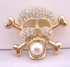 Gold Skull Head Brooch Pendant Fully Embedded Cubic Zircon Bling Bling - $17.28