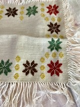 "Needlepoint Embroidery Square Woven Fringed tapestry  12.5"" X 12.5""   #0... - $9.90"